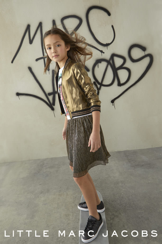 Bronze bomber jacket and tulle skirt girls street party style from Little Marc Jacobs
