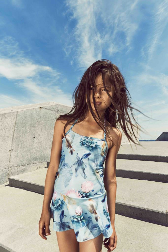 Soft tropical floral prints at Molo for girls swim styles summer 18
