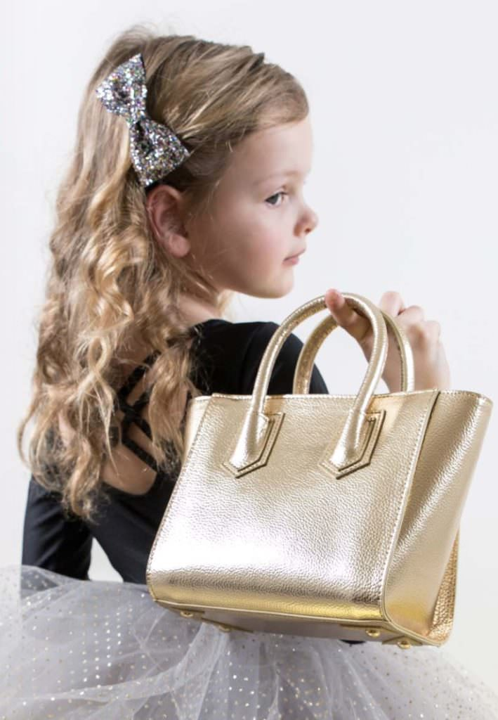 Chic gold bag from new British label Mimi & Lulu for kids fashion accessories