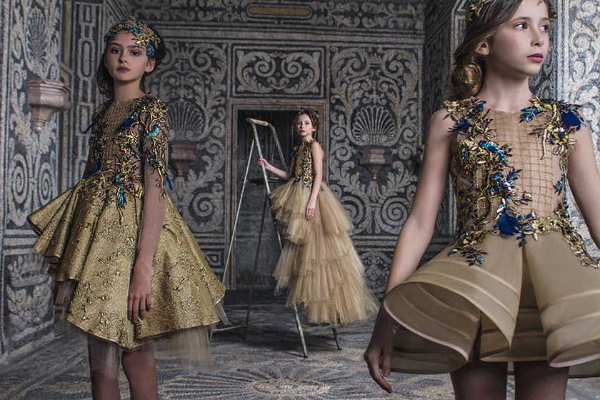 Jewelled colours and embroidery inspired by the Renaissance from Mishka Aoki kids couture