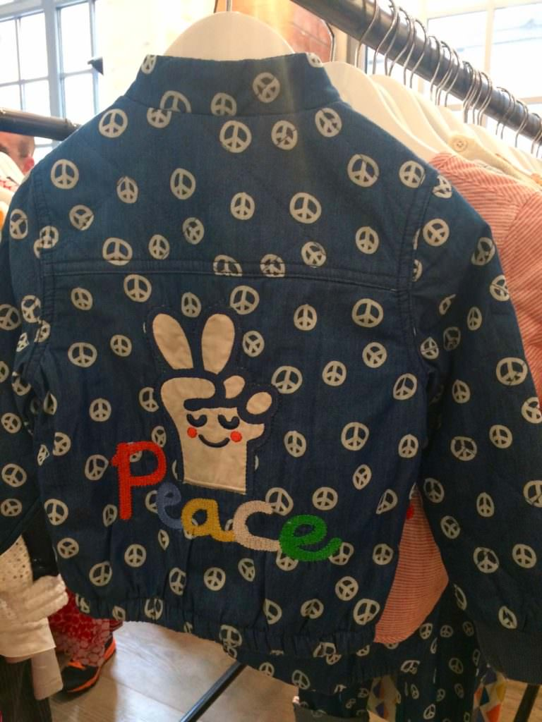 Tootsa MacGinty always have a good back view jacket and this one's for peace and love for kidswear ss18