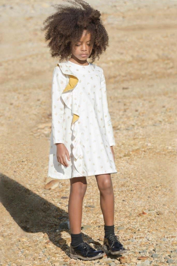 Ruffled front dress by Motoreta for fall/winter 2017