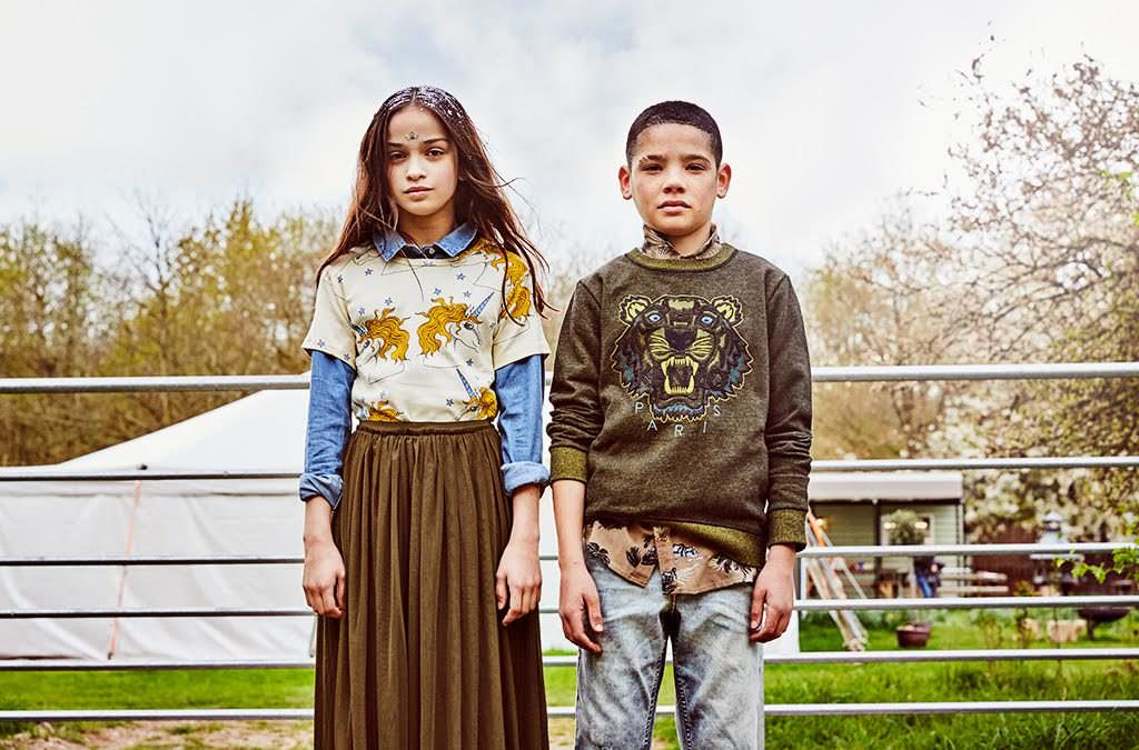 Girl-T-shirt from Childrensalon by Mini Rodini, shirt H&M, skirt stylists own, shoes Converse. Boy - shirt River Island, shorts from Childrensalon by Roberto Cavalli, jumper from Childrensalon by Kenzo
