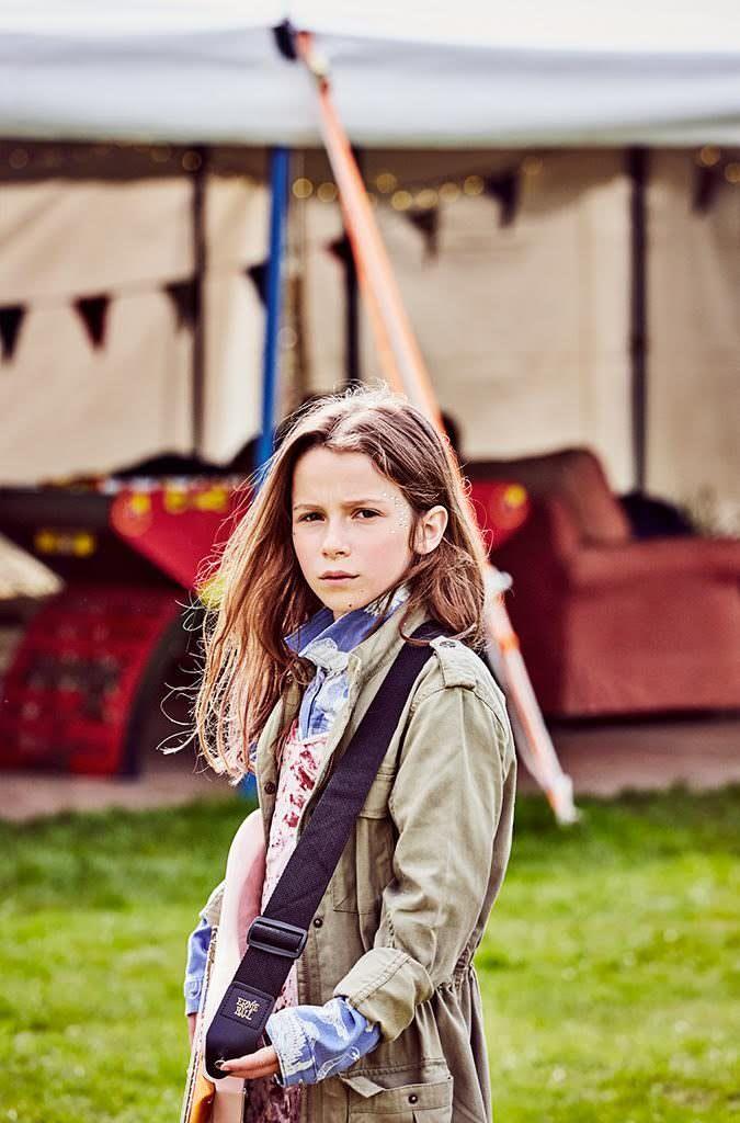Khaki parka jkt by H&M, Velvet dress stylists own, Denim jacket from Childrensalon by Molo