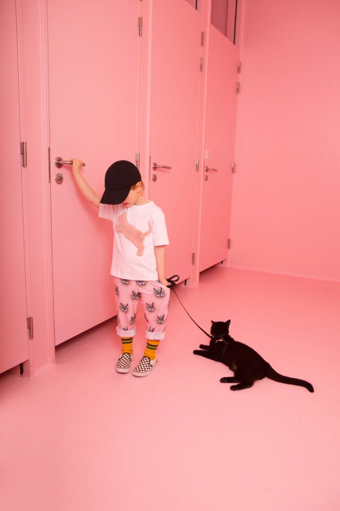 Cat motifs at Caroline Bosmans Official Fake kids fashion collection for fall 2017