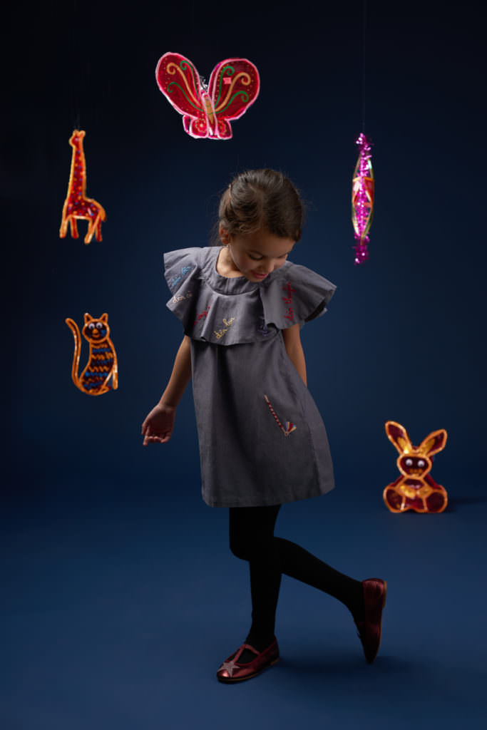 Frill collared girls dress by new label Hannah & Tiff for fall 2017 kids fashion