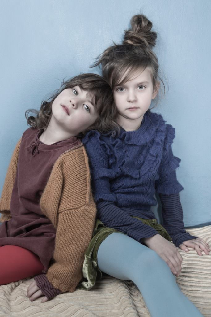 Ruffled knits and metallic trims at Long Live The Queen kidswear fall/winter 2017