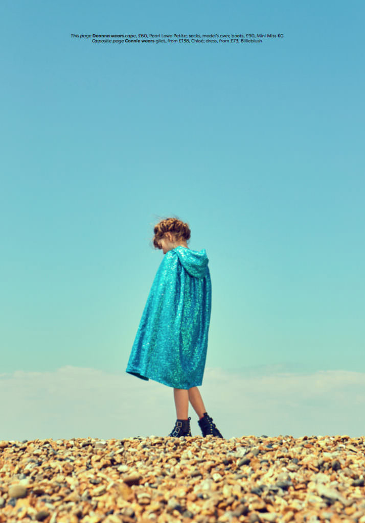 Kids autumn fashion trends 2017 in Family Traveller magazine cape by Pearl Lowe Petite, boots by Little Miss KG
