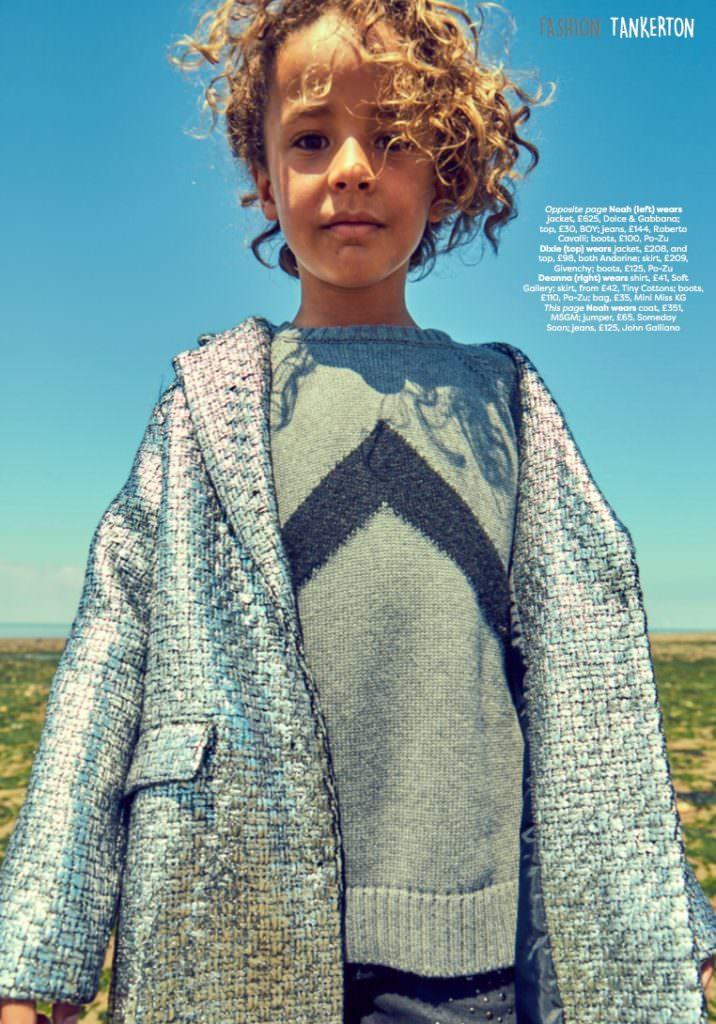 Amazing metallic silver coat from MSGM Kids and sweater by Someday Soon