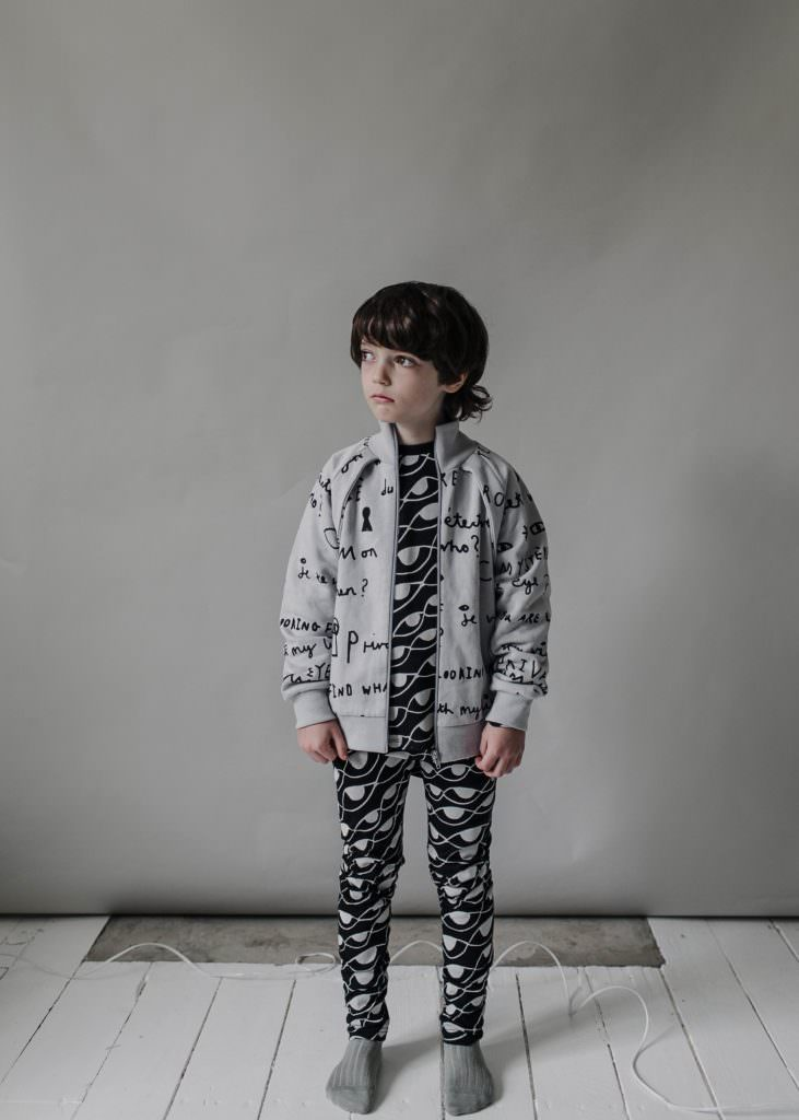 Notebook scribble jacket and abstract eye leggings at Beau Loves for winter 2017 kids fashion