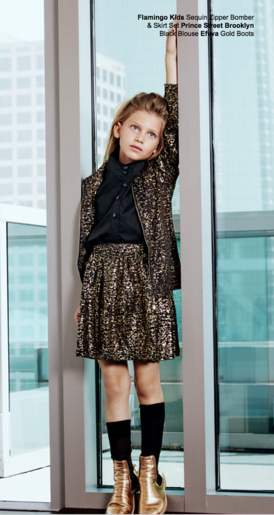 Metallic kids fashion shoot by Sara Pine for Mini Maven kids fashion magazine