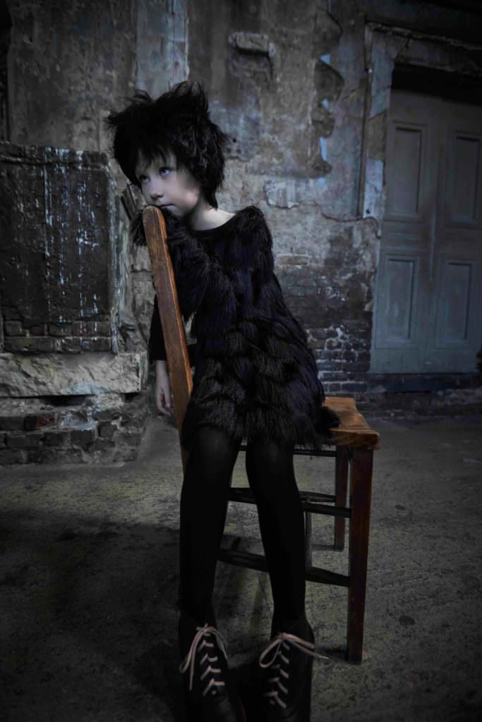 Black fringe dress, by Andorine @ AlexandAlexa. Black tights, by Next. Black Wren boots, by Chapter 2, Halloween kids fashion inspiration