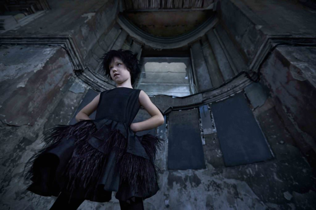 Feather dress, by Little Wardrobe. Black tights, by Next. Black glitter ankle boots, by Step2wo.