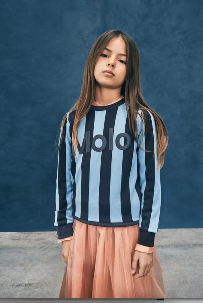 Sporty stripes and tulle mash up at Molo winter girlswear 2017