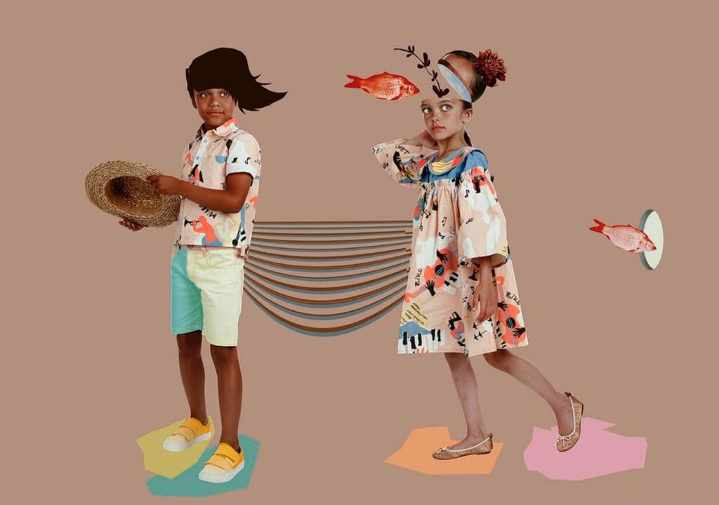 Boys and girls share jazz instrument prints at Raspberry Plum SS18