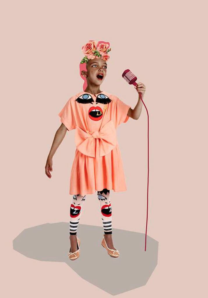 Fabulous mouth singing embroideries for Raspberry Plum kidswear which also comes as a white shirt for adults for summer 2018