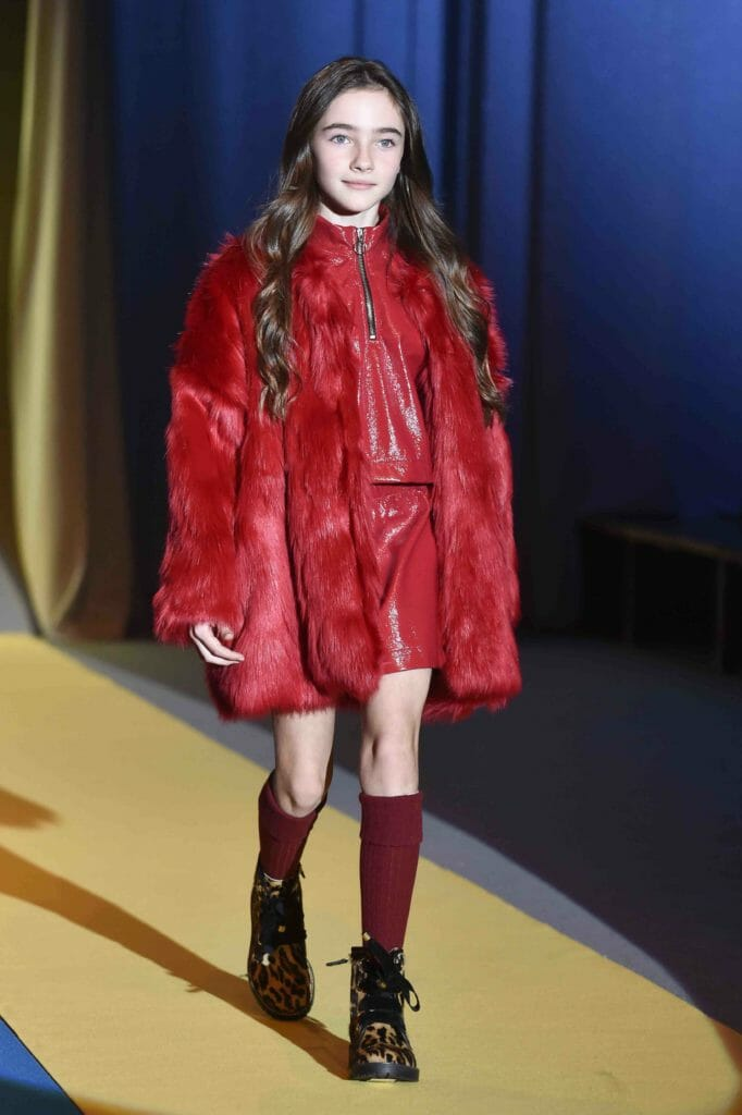 Perfect red tones and shaggy faux fur at Andorinne for fall 2018 kids fashion from Pitti Bimbo