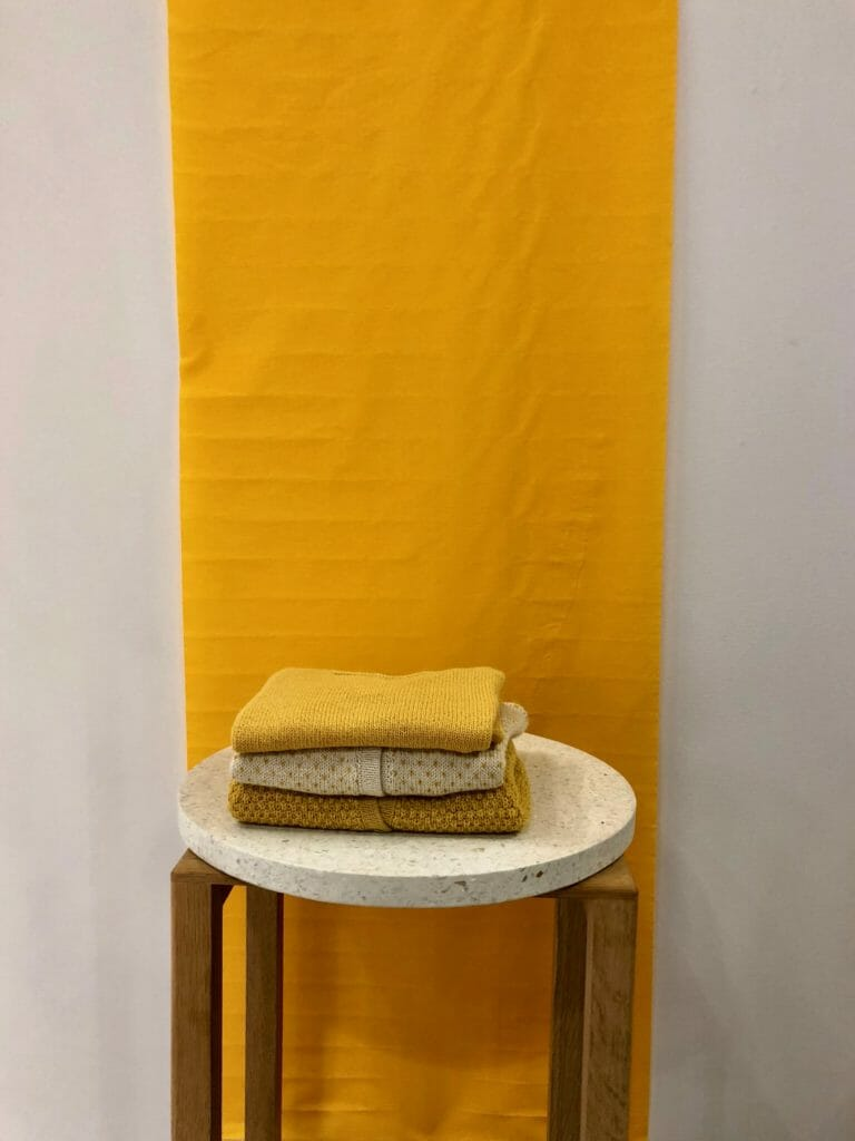 Bold gold knitwear and toddler chairs from Danish label Septembers at CIFF Kids