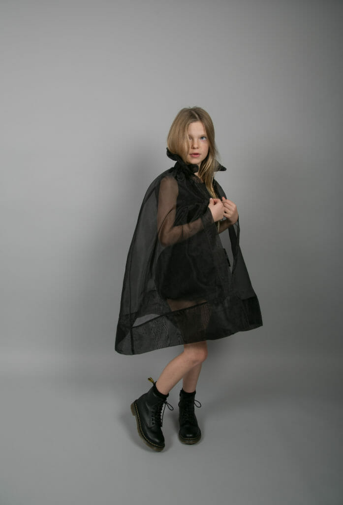 The organza coat in black at Carbon Soldier for SS18