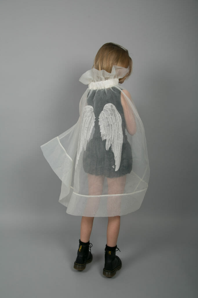 Beautiful embroidered wings organza cape by Carbon Soldier for kidswear SS18
