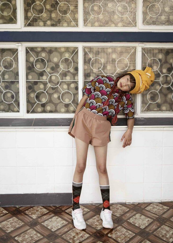The Animals Observatory shorts, Lacoste shoes, Burlington Socks, Bobo Choses sweater (wrapped on head)
