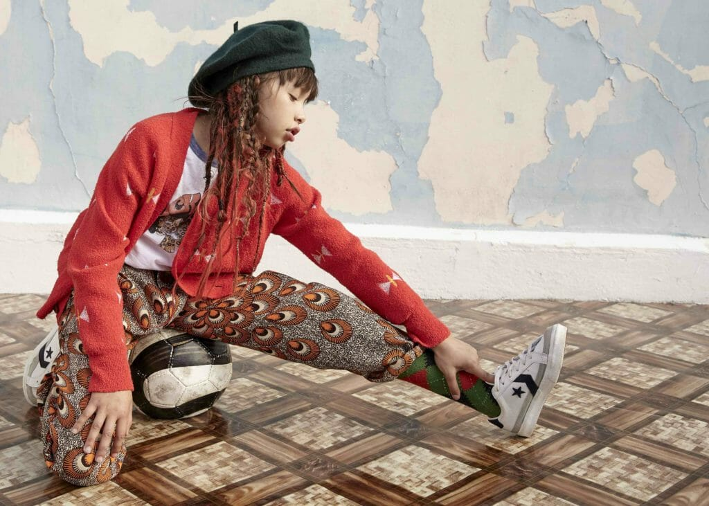 Zadig and Voltaire T-Shirt, Bobo Choses Cardigan, Burlington Socks, Converse Shoes, trousers made locally