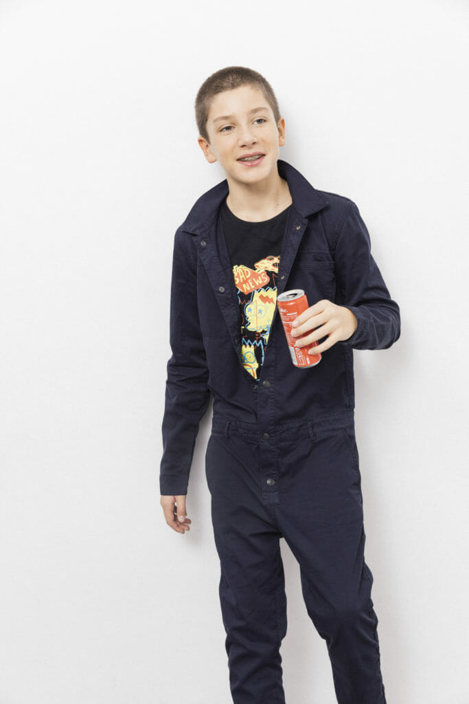 A very cool overall from Finger in the Nose boyswear summer 2018