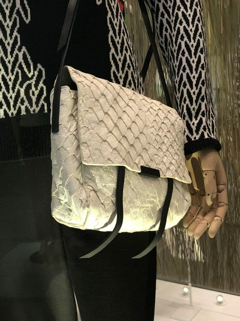Brazilian label Osklen specialise in luxury products made from sustainable materials, this bag is made from Pirarucu fish skin, this is a protected species and the skins come from government regulated farms which provide employment for local communities and a sustainable source of food
