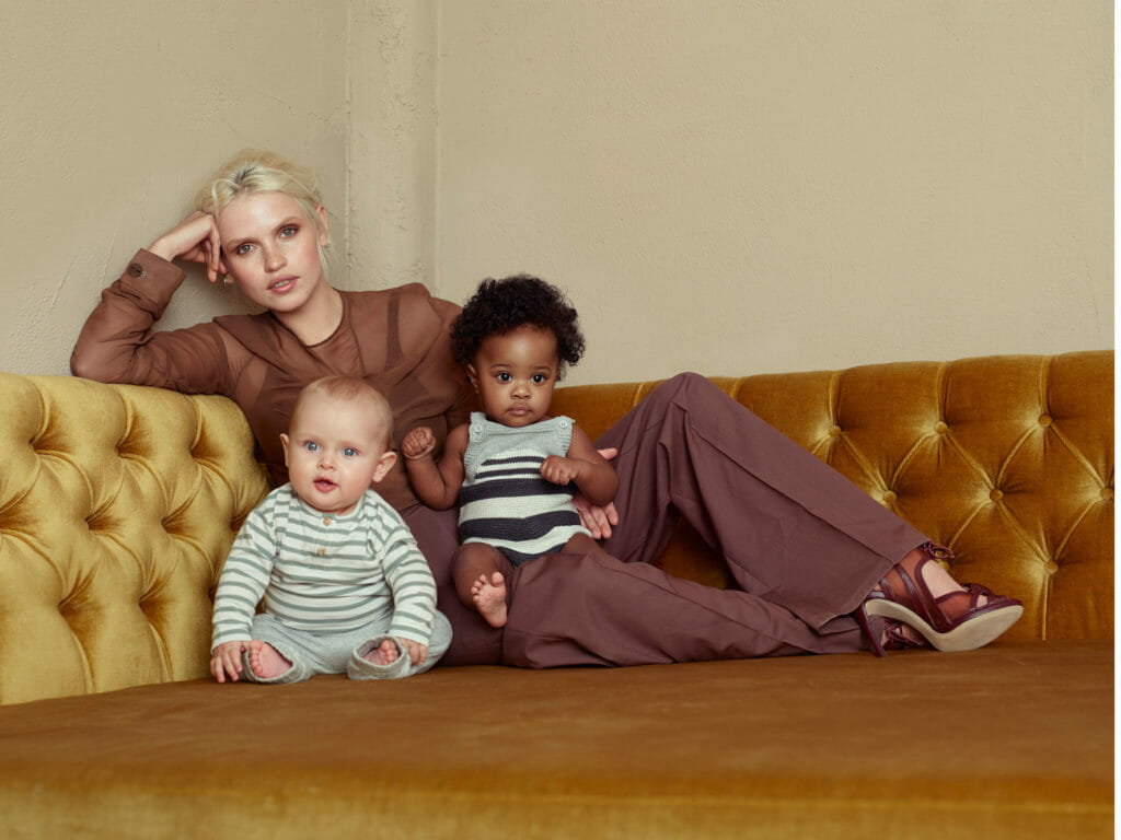 Mama and baby fashion editorial, on model shirt and trousers by Emma Charles, shoes WtR, on babies all The Bonnie Mob