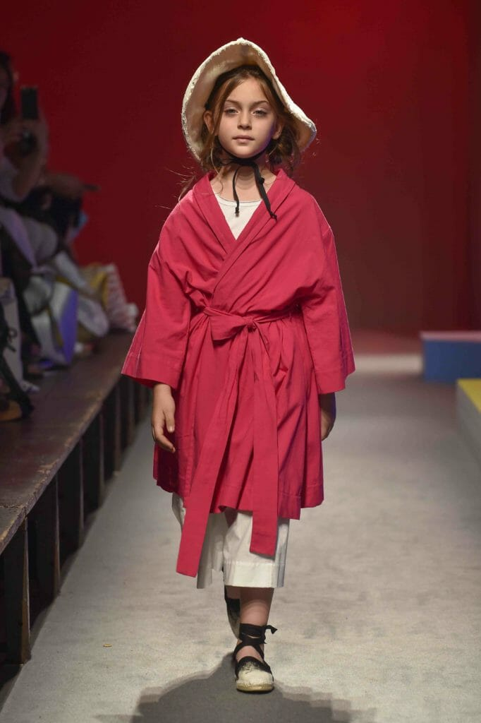 Strictly neutral Little Creative Factory added some hot red colours for their Wabisabi SS19 collection at Pitti Bimbo 87