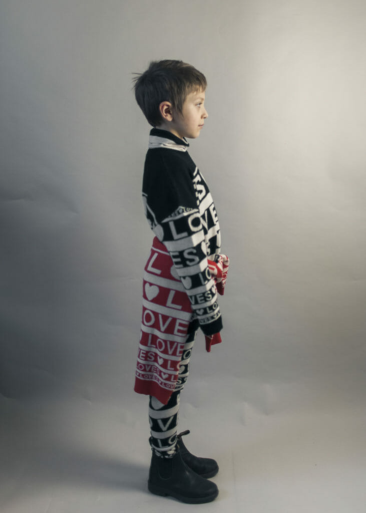 Bold letter sweaters come in monochrome or red and white at Beau Loves kids fashion for winter 2018