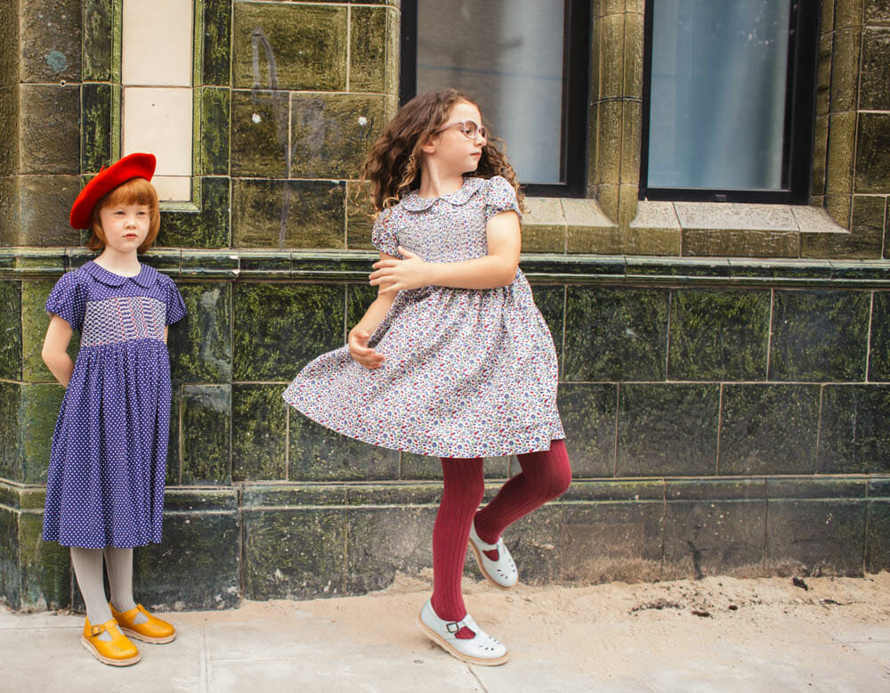 New kids fashion shoot for Question Everything inspired by vintage East End photos
