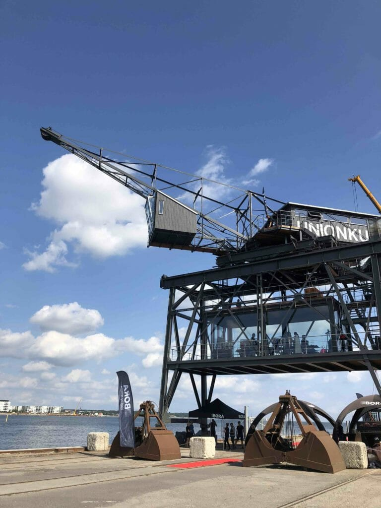 The amazing Krane glass box in the sky, converted from an old industrial coal crane in the docks of Copenhagen