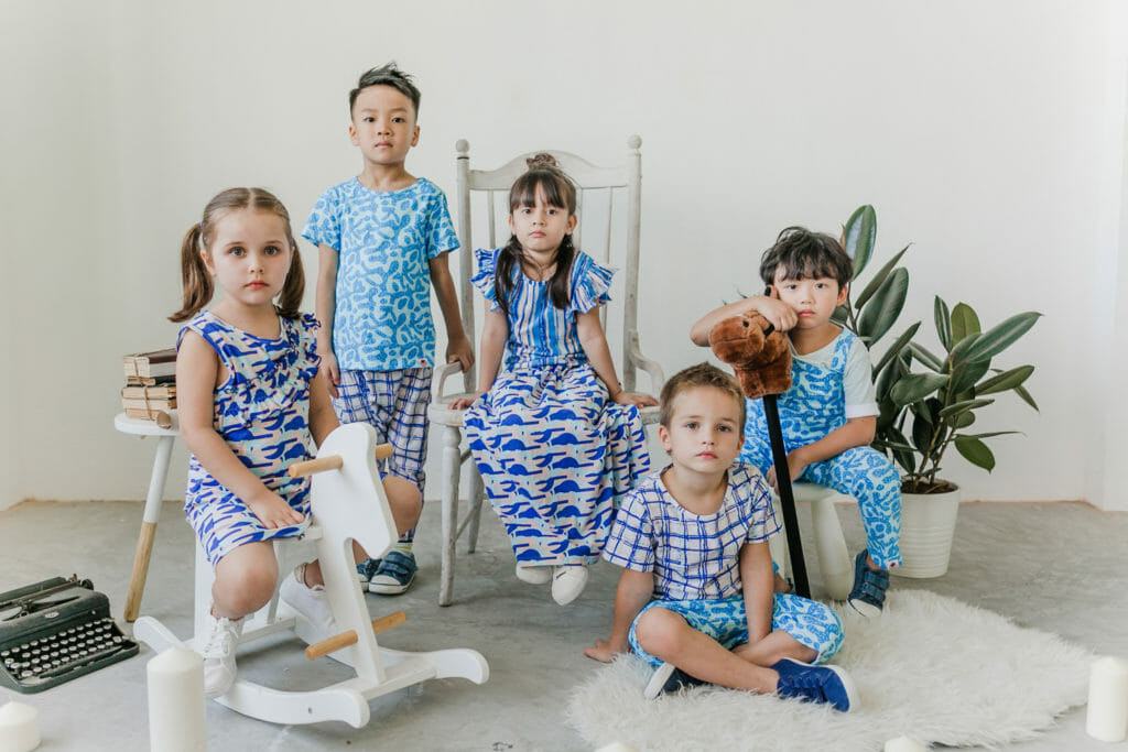 A selection of SS19 kids fashion from Roses & Rhinos which will be showcased on the Mini Mode catwalk in London in September