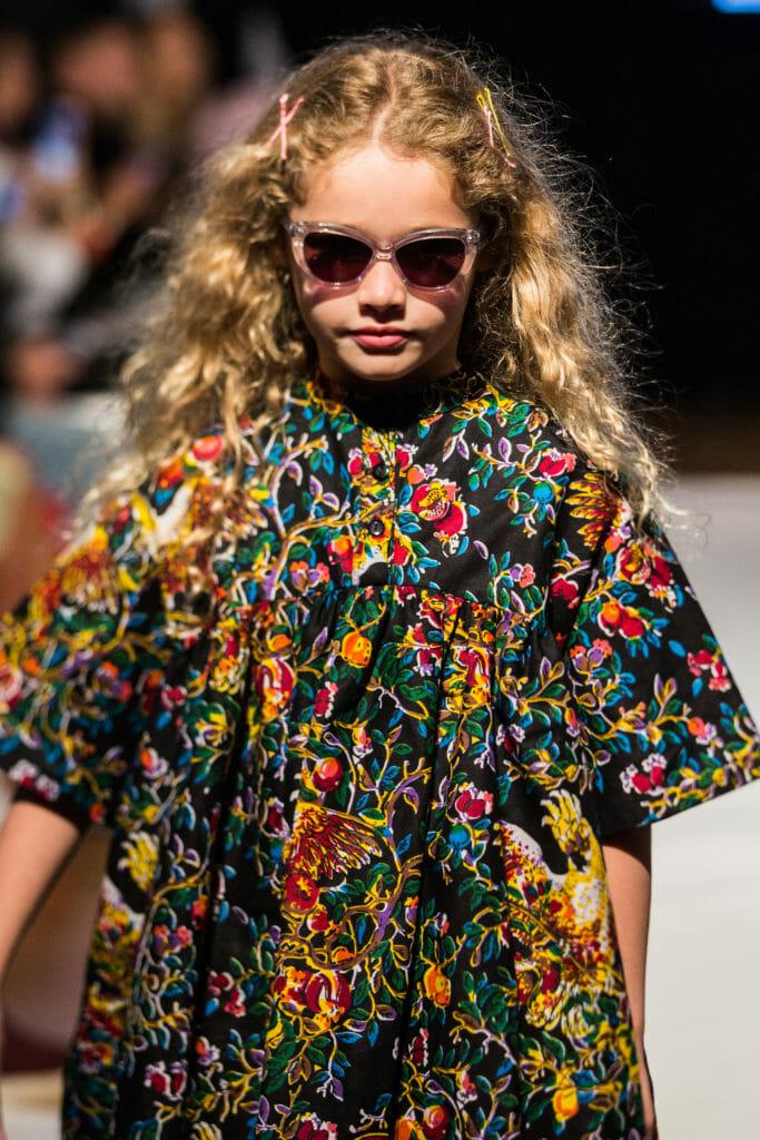 Bright prints by Koh Mabby, photo Santoshi Padhiar at Mini Mode London Kids fashion week.