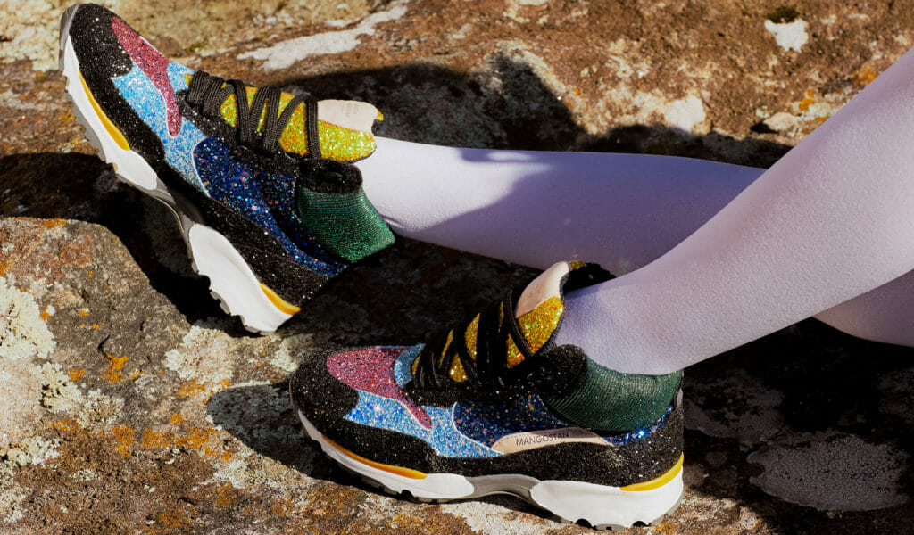 Glitter trainers by Maison Mangostan the coolest kids shoes around