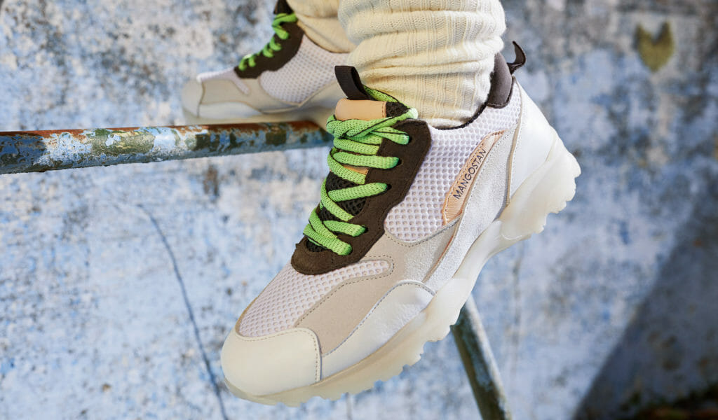 A neon update on the cool white trainer look for Maison Mangostan fall/winter 2018