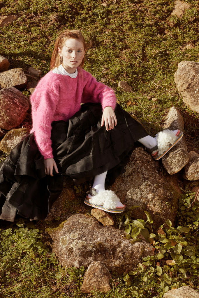 Shearling sandals from cool kids footwear brand Maison Mangostan for fall 2018