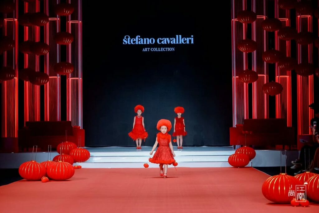 The Stefano Cavalleri red collection at China Kids fashion week