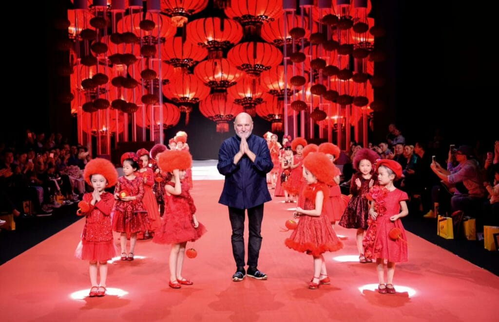 Stefano Cavalleri on the catwalk representing Italy at the Shanghai fashion week show