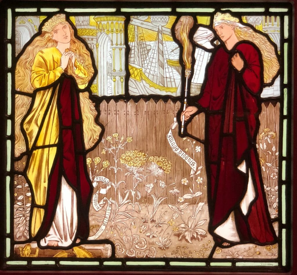 One of Edward Burn -Jones stained glass works at the Tate Britain retrospective from around 1863