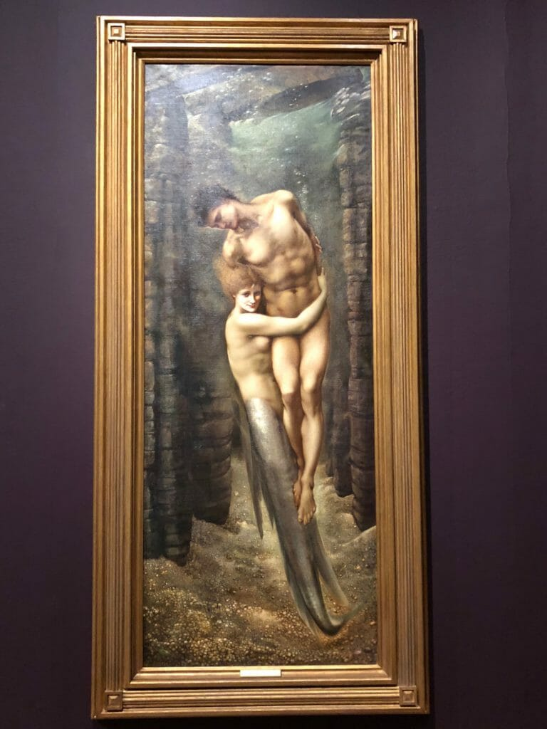 So weird and yet one of my favourites, Edward Burne-Jones The Depths of the Sea 1886, apparently a mermaid dragging a sailor to his death so not so cheery!