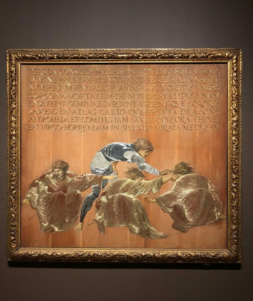 Exquisite silver and gold leaf work on Perseus and the Graiae 1877, a technique Edward Burne-Jones chose not to pursue but this is beautiful
