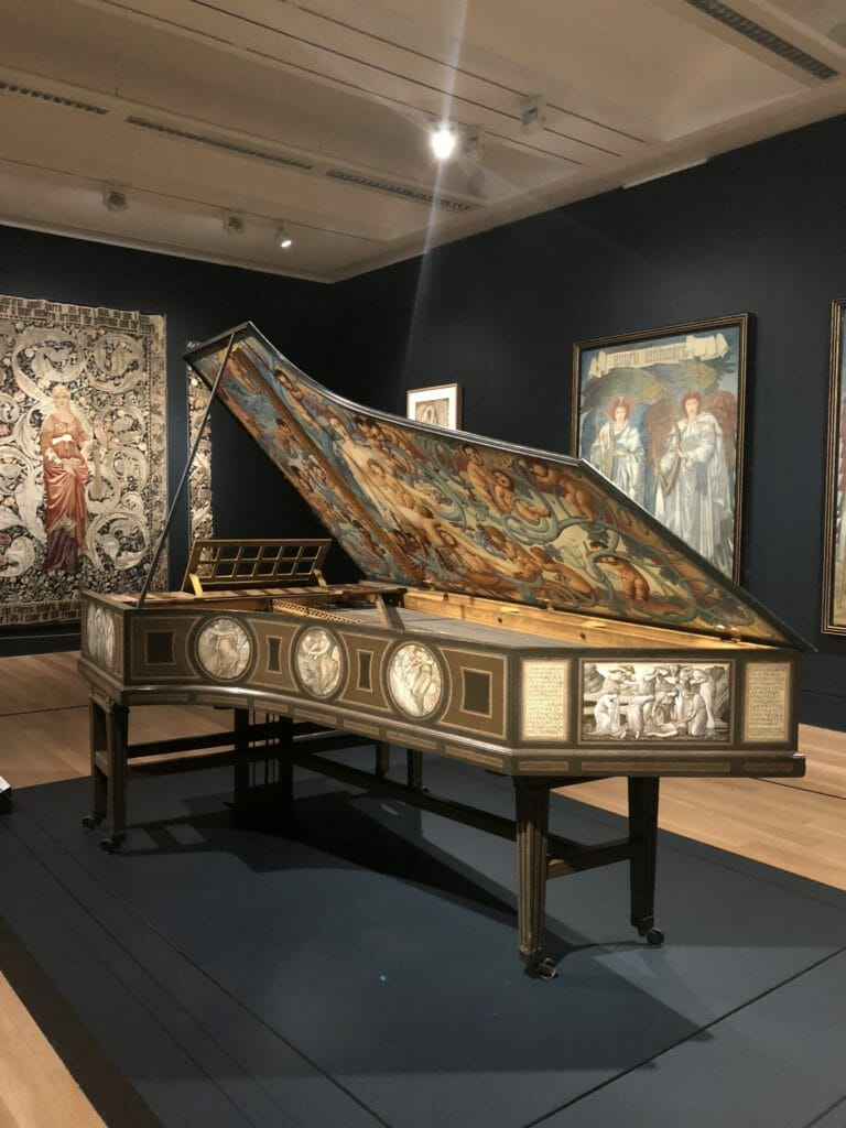 The final room shows Edward Burne-Jones decorative talents, never one to turn down a paid commission this is a piano for a patron Wiliam Graham daughters 21st birthday
