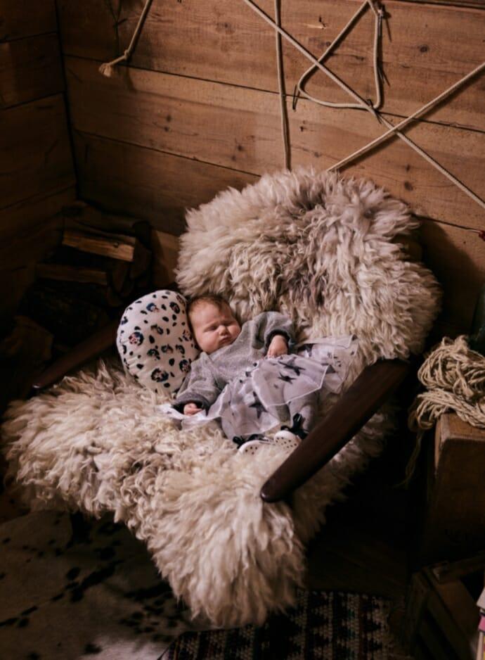 Cute baby party dress and cushion from Noe & Zoe foe winter 2018