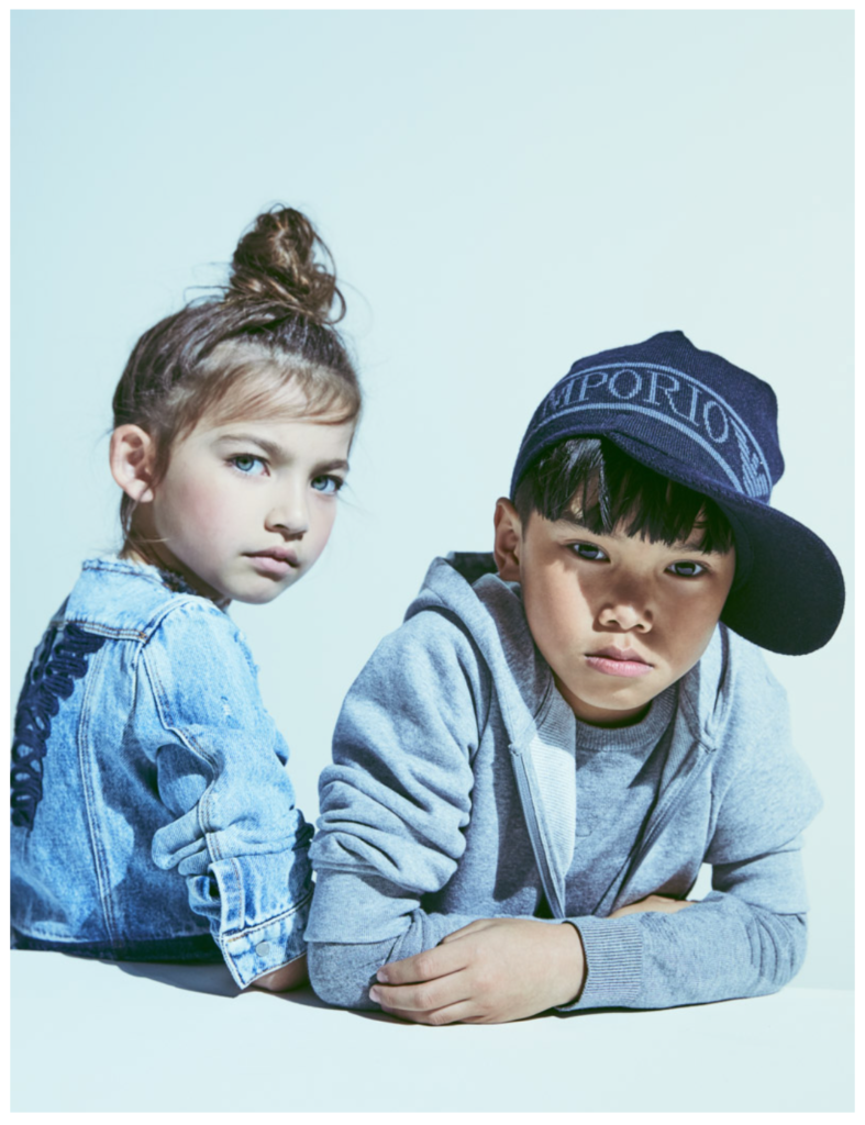 Emporio Armani incorporates the kids world with special denim pieces for winter 2018