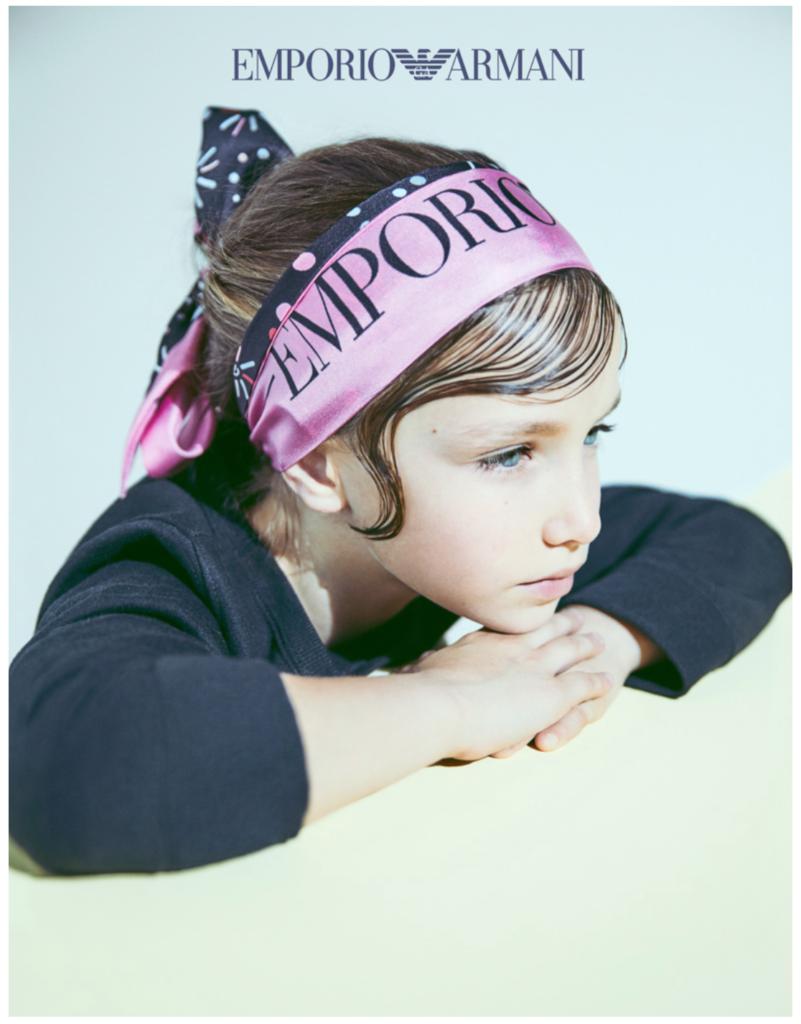 Logo scarves at Emporio Armani kidswear FW18