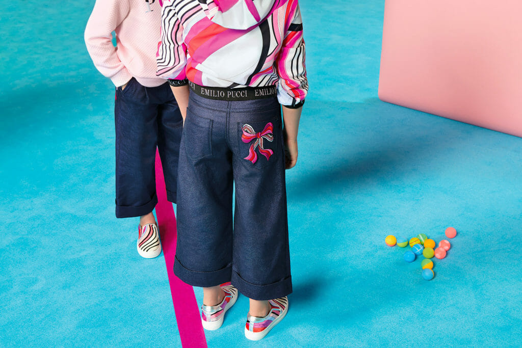 Emroidered dark denim from Pucci childrenswear for winter 2018