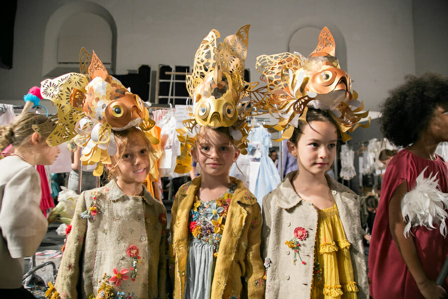 Extraordinary headresses from Pero for the Apartment catwalk show at Pitti Bimbo for the SS2019 season