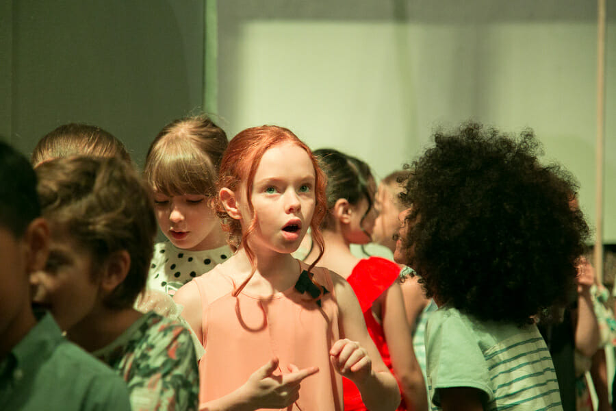 A moment in the crowd, young models backstage for Apartment at Pitti Bimbo 87